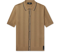 Contrast-tipped Perforated Stretch-knit Polo Shirt - Tan