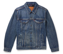 Flannel-lined Denim Trucker Jacket - Blue