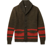 Shawl-collar Striped Cotton And Wool-blend Cardigan - Green
