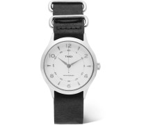 Whitney Village Stainless Steel And Leather Watch - White