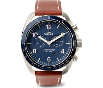 The Rambler Tachymeter Chronograph 44mm Stainless Steel And Leather Watch - Blue