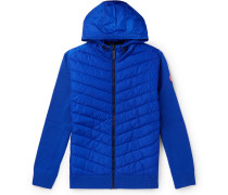 Hybridge Slim-fit Merino Wool And Quilted Nylon Hooded Down Jacket - Blue
