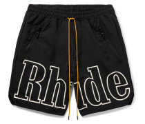 Wide-Leg Logo-Print Nylon Drawstring Shorts