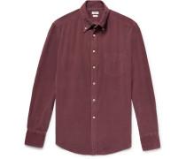 Button-down Collar Garment-dyed Cotton-corduroy Shirt - Burgundy