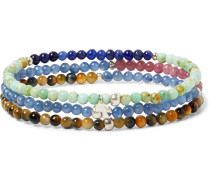 Set of Three Multi-Stone and Sterling Silver Beaded Bracelets