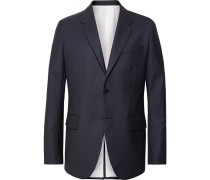 Navy Puppytooth Wool Suit Jacket - Navy