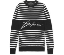 Slim-fit Logo-intarsia Striped Cotton Sweater - Black