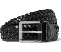 3.5cm Black Woven Leather Belt
