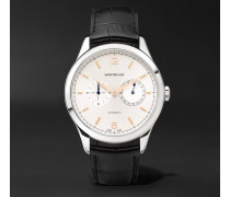 Heritage Chronométrie Twincounter Date Automatic 40mm Stainless Steel And Alligator Watch - White