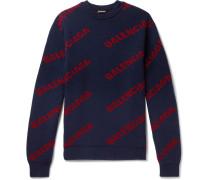 Logo-intarsia Virgin Wool-blend Sweater - Navy