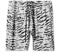 Wide-leg Mid-length Printed Swim Shorts - White