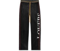 Embellished Printed Jersey Drawstring Trousers