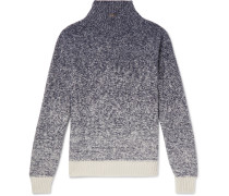 Dégradé Funnel-neck Cashmere And Silk-blend Sweater - Blue