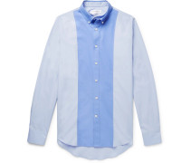 Slim-fit Layered Two-tone Cotton-poplin Shirt