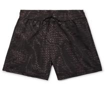 Mid-length Printed Swim Shorts - Black