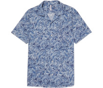 Printed Cotton And Linen-blend Shirt