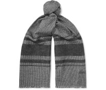 Logo-Embroidered Striped Silk and Cashmere-Blend Scarf