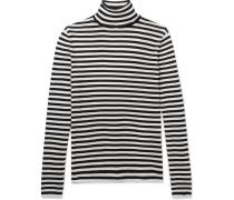Striped Cotton Rollneck Sweater - Black