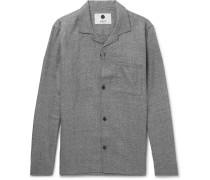 Jannic 1299 Camp-collar Wool And Linen-blend Overshirt