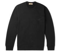 Logo-appliquéd Panelled Loopback Cotton-jersey Sweatshirt - Black
