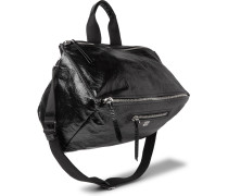 Pandora Canvas-trimmed Creased-leather Tote Bag - Black