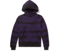 Distressed Tie-dyed Cotton-jersey Hoodie - Purple