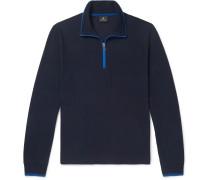 Contrast-tipped Cotton-piqué Half-zip Sweatshirt - Navy