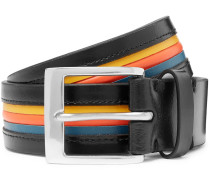 3.5cm Striped Leather Belt - Black