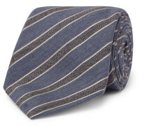 8cm Striped Mélange Wool And Silk-blend Tie - Light blue
