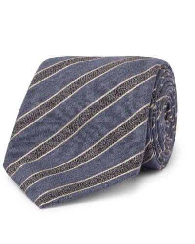 8cm Striped Mélange Wool And Silk-blend Tie - Light blue