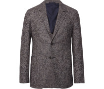 Charcoal Slim-fit Unstructured Puppytooth Alpaca And Wool-blend Blazer