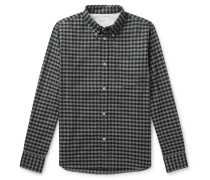 Button-down Collar Gingham Brushed Cotton-flannel Shirt - Charcoal