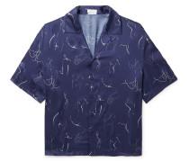 Camp-Collar Printed Matte-Satin Shirt
