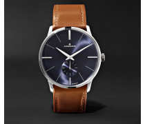 Meister Handaufzug 38mm Stainless Steel And Leather Watch - Navy