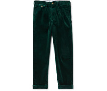 Wide-leg Pleated Stretch Cotton-corduroy Trousers - Dark green