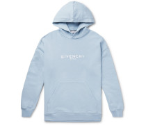 Logo-print Loopback Cotton-jersey Hoodie - Light blue