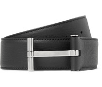 4cm Black Full-grain Leather Belt