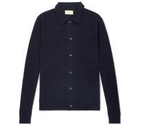 Rundell Slim-fit Textured Cotton-jersey Jacket - Navy