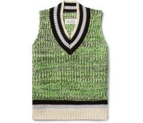 Mélange Cotton-blend Sweater Vest - Lime green