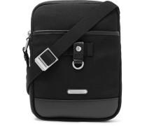 Rivington Race Leather-trimmed Canvas Messenger Bag - Black