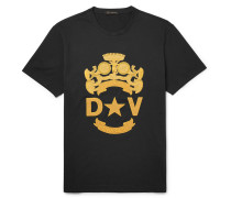 Logo-embroidered Cotton-jersey T-shirt - Black