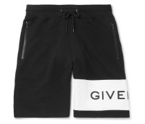 Logo-embroidered Loopback Cotton-jersey Drawstring Shorts - Black