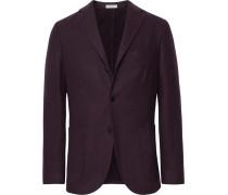 Merlot K-jacket Slim-fit Garment-dyed Felted Wool Blazer - Purple