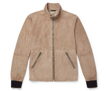 Slim-fit Leather-trimmed Suede Blouson Jacket