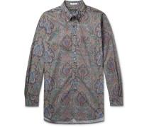 Button-Down Collar Paisley-Print Cotton-Poplin Shirt