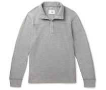 Mélange Loopback Cotton-jersey Half-placket Sweatshirt - Gray