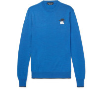 Embroidered Wool Sweater - Blue