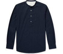 Auguste Grandad-collar Cotton-jacquard Shirt