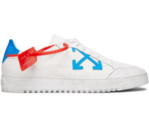 Distressed Leather-trimmed Canvas Sneakers - White