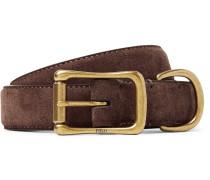 2.5cm Brown Brushed-suede Belt - Brown